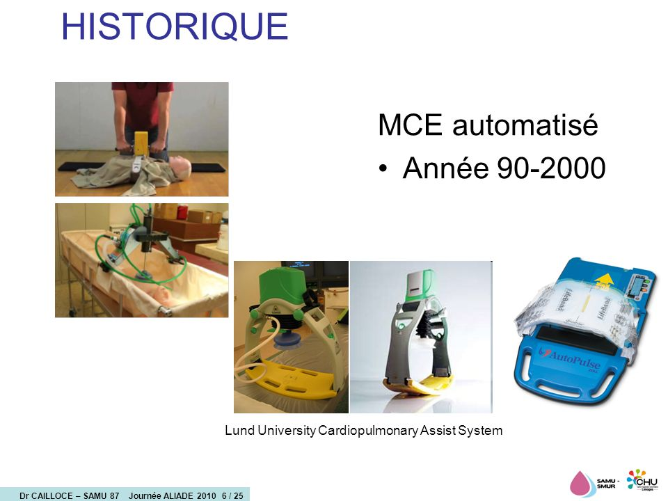 Dr CAILLOCE – SAMU 87 Journée ALIADE 2010 7 / 25 Les Etudes Of 100 patients studied, 31% had a stable ROSC and were subsequently admitted to the intensive care unit.