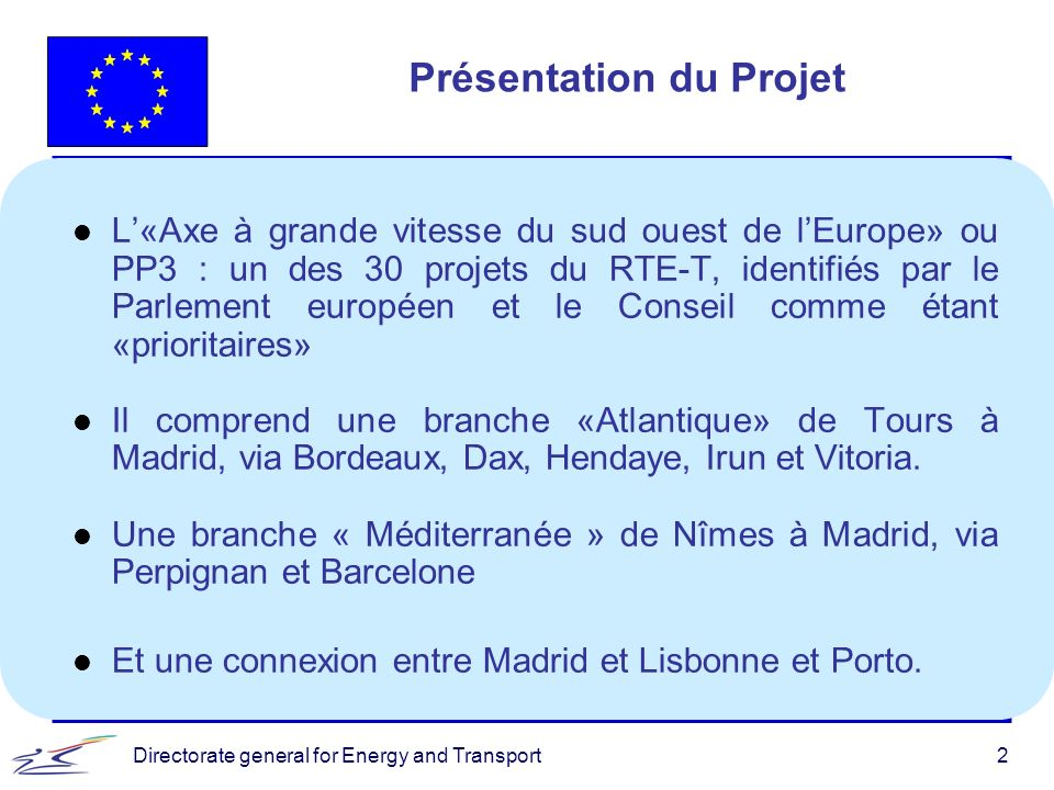 Directorate general for Energy and Transport3 Carte du PP3
