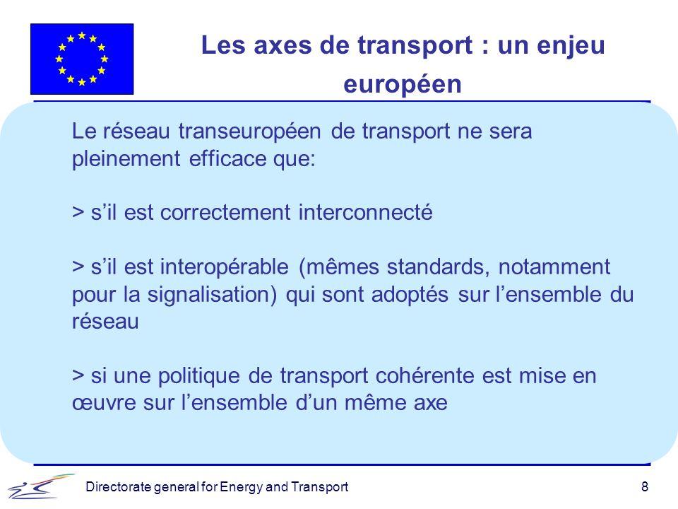 Directorate general for Energy and Transport9 Contribution de la Communauté au développement du RTE-T A travers : > le budget des réseaux transeuropéens, en finançant : - jusquà 50% du coût des études; - jusquà 10% du coût des travaux; - dans des cas exceptionnels, jusquà 20% pour les sections transfrontalières des projets prioritaires.