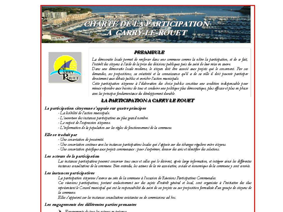 Charte de la Participation La mission confiée au Conseil des Sages a été remplie : la Charte existe A lensemble des Carryens et de la Municipalité de la faire vivre !