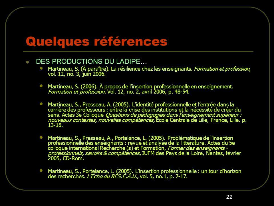 23 Quelques références Vallerand, A.-C., Martineau, S.