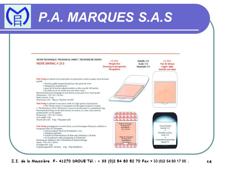 15 P.A.MARQUES S.A.S Z.I.