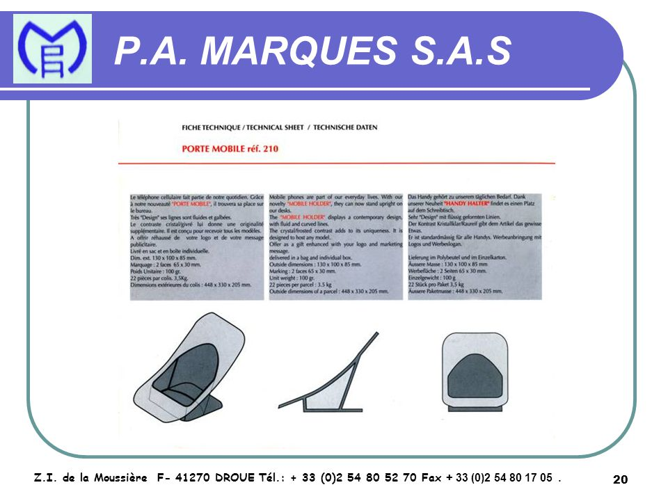 21 P.A.MARQUES S.A.S Z.I.