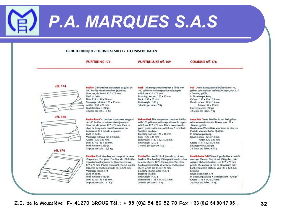 33 P.A.MARQUES S.A.S Z.I.