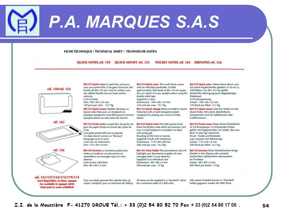 55 P.A.MARQUES S.A.S Z.I.