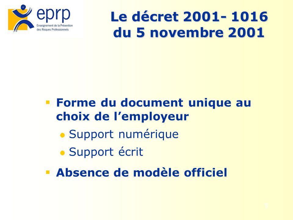 6 La circulaire DRT N° 6 du 18 avril 2002 Elle apporte des précisions sur: le document unique ( fond, forme) La démarche générale dévaluation des risques