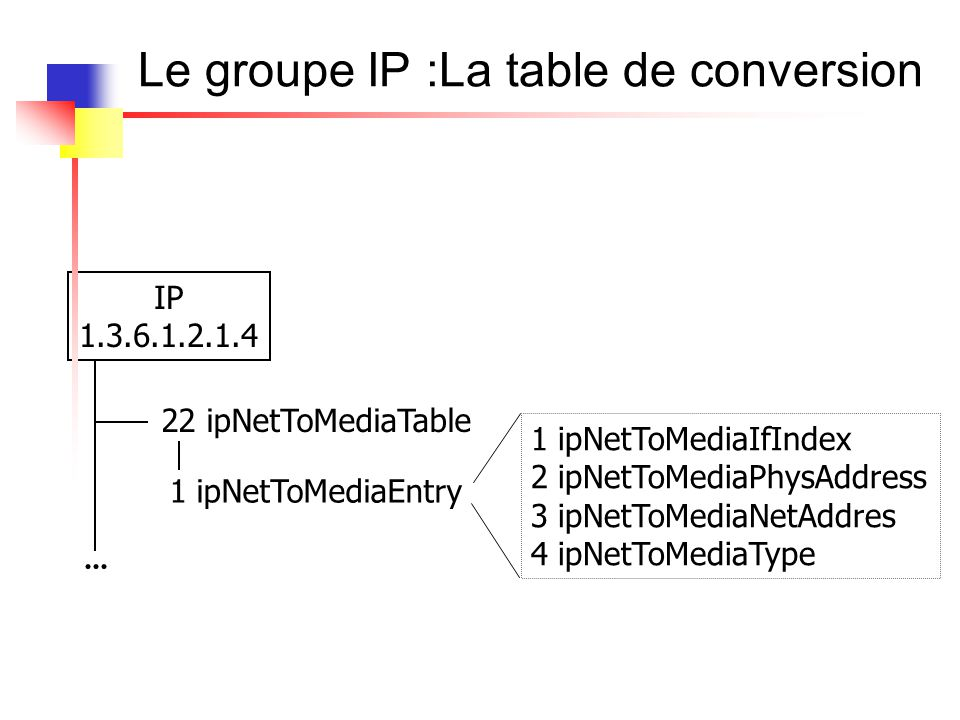 Le groupe IP : La table de routage IP 1.3.6.1.2.1.4 21 ipRouteTable 1 ipRouteEntry 1 ipRouteDest 2 ipRouteIfIndex 3 ipRouteMetric1 7 ipRouteNextHop 8 ipRouteType 9 ipRouteProto 10 ipRouteAge 11 ipRouteMask 12 ipRouteMetric5 13 ipRouteInfo...