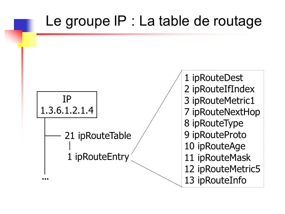 Le groupe ip : snmpwalk RFC1213-MIB::ipRouteDest.0.0.0.0 = IpAddress: 0.0.0.0 RFC1213-MIB::ipRouteDest.194.57.88.0 = IpAddress: 194.57.88.0...