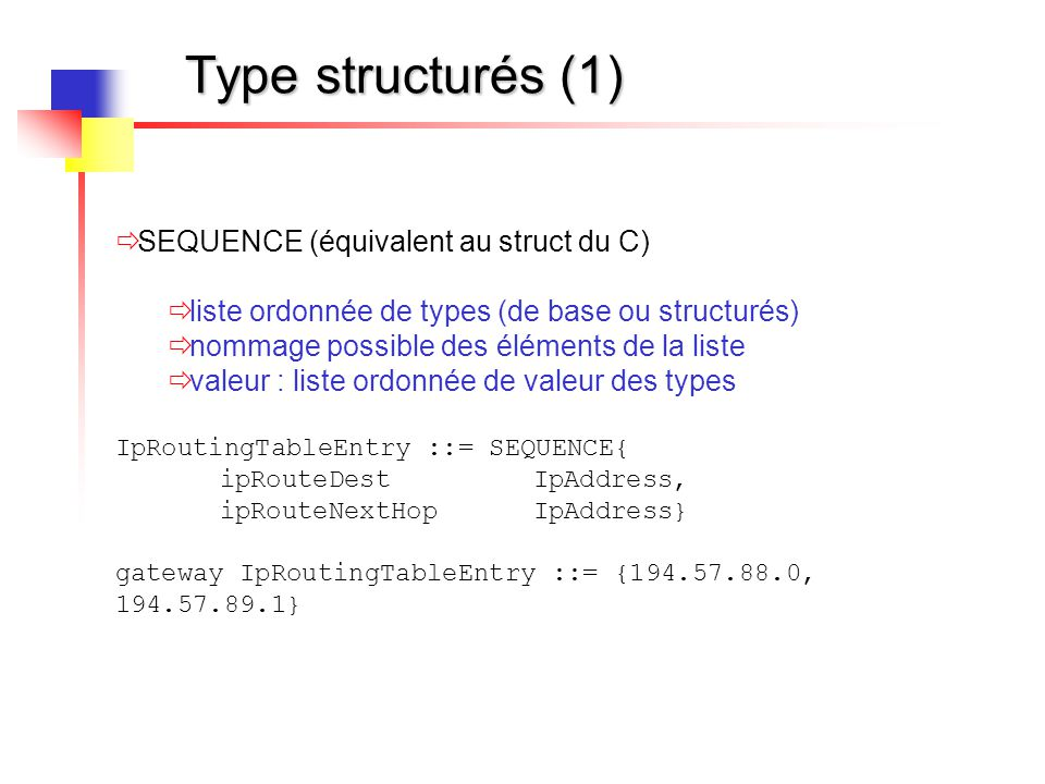 Type structurés (2)  SEQUENCE OF  Collection ordonnée d'éléments de même type  valeur : liste ordonnée de valeurs du type IpRoutingTable ::= SEQUENCE OF IpRoutingTableEntry routeur1RT ipRoutingTable ::= {{181.23.54.0, 181.23.55.1},{181.23.53.0, 181.23.55.255}}