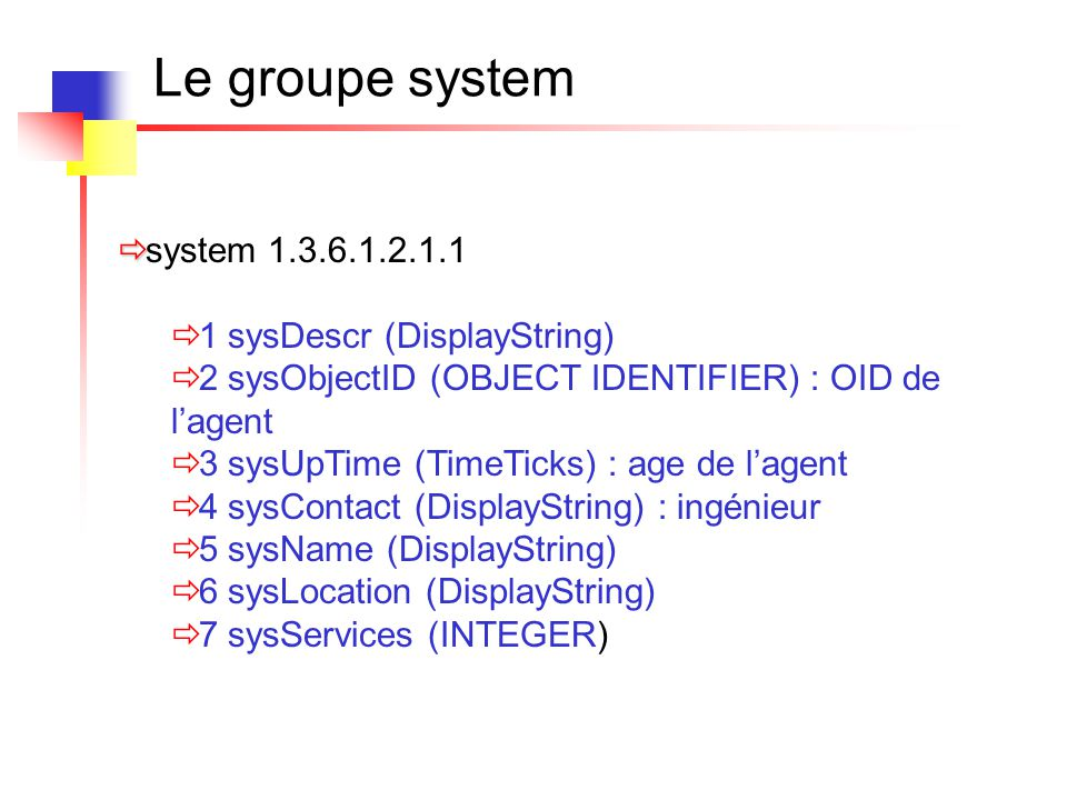 Le groupe system : snmpwalk SNMPv2-MIB::sysDescr.0 = STRING: Cisco Internetwork Operating System Software IOS (tm) 1600 Software (C1600-SY-M), Version 12.0(5)T, RELEASE SOFTWARE (fc1) Copyright (c) 1986-1999 by cisco Systems, Inc.