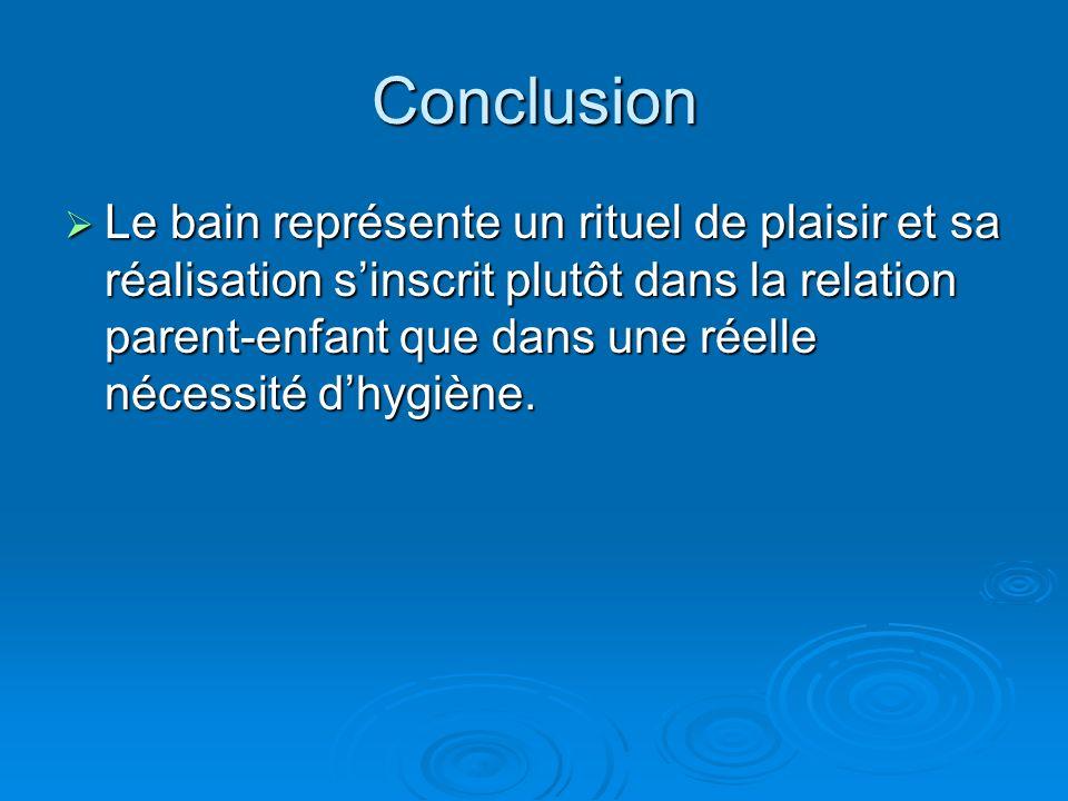 Conclusion Le bain représente un rituel de plaisir et sa réalisation sinscrit plutôt dans la relation parent-enfant que dans une réelle nécessité dhygiène.