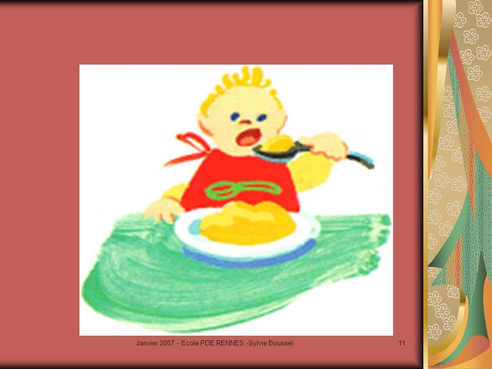 Janvier 2007 - Ecole PDE RENNES -Sylvie Boussel12 Léducation du goût -1 = faire découvrir des sources de plaisir: expérimenter, comparer, analyser,mémoriser exp sensorielle Responsabilité des pers impliquées ds éducation et santé de lef Goût = sens qui participe à léveil, au dvpt, à la croissance harmonieuse de lef Aujh, mvt d info sur le goût en F (institut F du goût à Tours, Conseil national des Arts culinaires,éducation du goût auprès des jeunes efs, semaine du goût…)