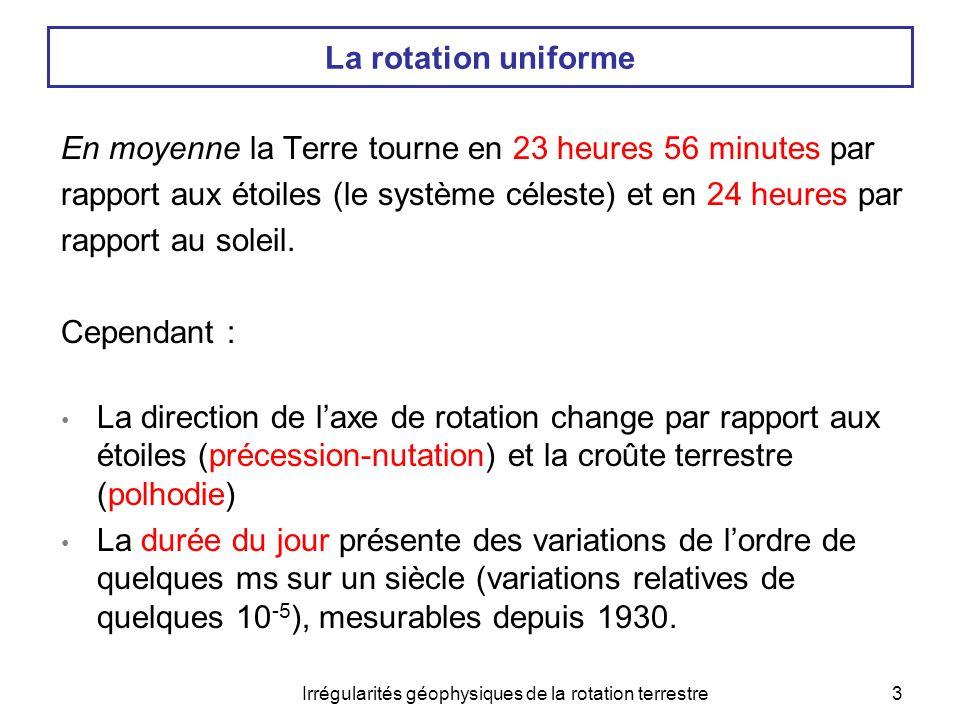 Irrégularités géophysiques de la rotation terrestre4 Plan  «bestiaire» des effets selon leur cause I- Vue d'ensemble 1.