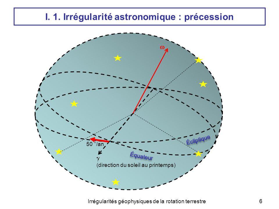 Irrégularités géophysiques de la rotation terrestre7 18.6 ans 40'' 25800 ans 23° 13.6 jours 1'' 182 jours I.
