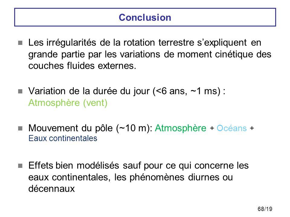 Irrégularités géophysiques de la rotation terrestre69 Nouveau challenge : le sub-diurne…  Gyrolaser de Wetzell  Combinaison multi-technique (VLBI/GPS/SLR/DORIS) : GINS-DYNAMO à l'Observatoire de Paris
