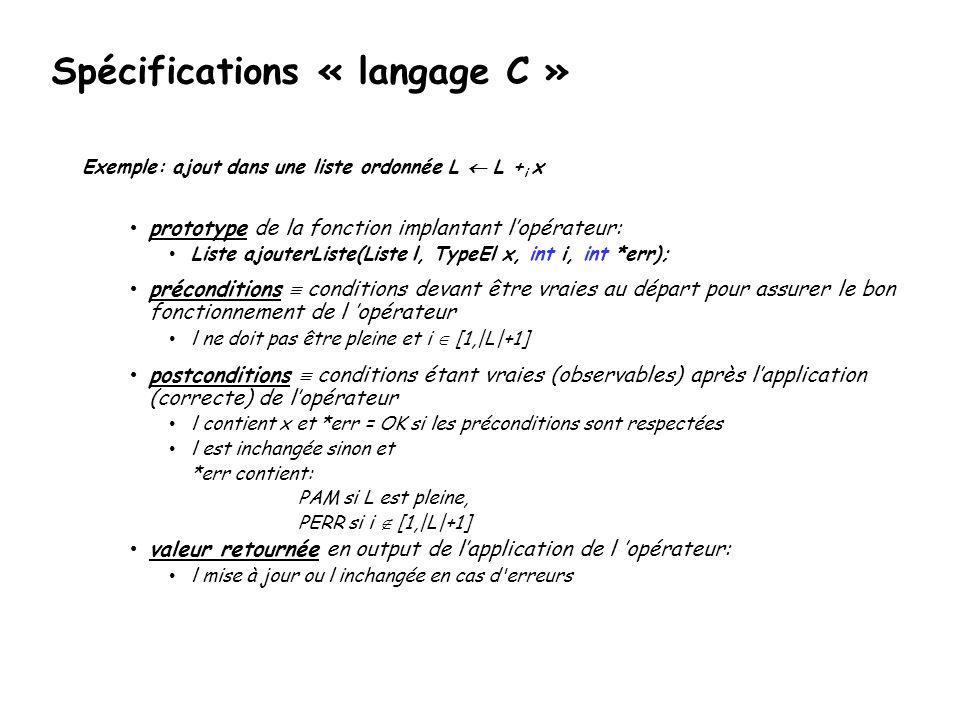 Spécifications version dOxygen (dans une classe) // Le type Liste class Liste{ public://L interface...