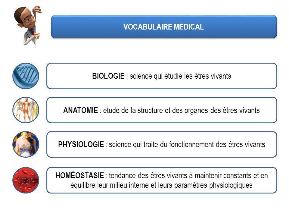 VOCABULAIRE MÉDICAL CYTOLOGIE : partie de la biologie qui étudie les cellules MÉTABOLISME : ensemble des réactions chimiques se produisant au sein de lorganisme et par lesquels certaines substances sélaborent (anabolisme) ou se dégradent (catabolisme) ANABOLISME : permet de synthétiser les constituants nécessaires à la structure et au bon fonctionnement des cellules CATABOLISME : permet dextraire lénergie des nutriments par dégradation des molécules énergétiques (glucides, lipides,…)