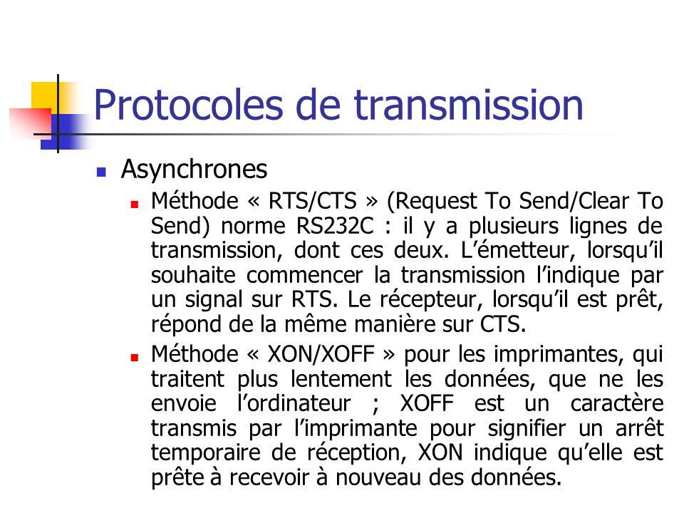 Protocoles de transmission Synchrones Après chaque unité de données bien reçue, le récepteur renvoie un accusé de réception – ACK – à lémetteur Dans le cas dune mauvaise réception, laccusé de réception est négatif – NACK – Des temporisateurs sont utilisés pour relancer la transmission sil ny a pas de réponse, et éventuellement rapporter aux couches supérieures le problème de ligne Les trames sont numérotées, pour augmenter le débit, et les accusés de réception le sont aussi