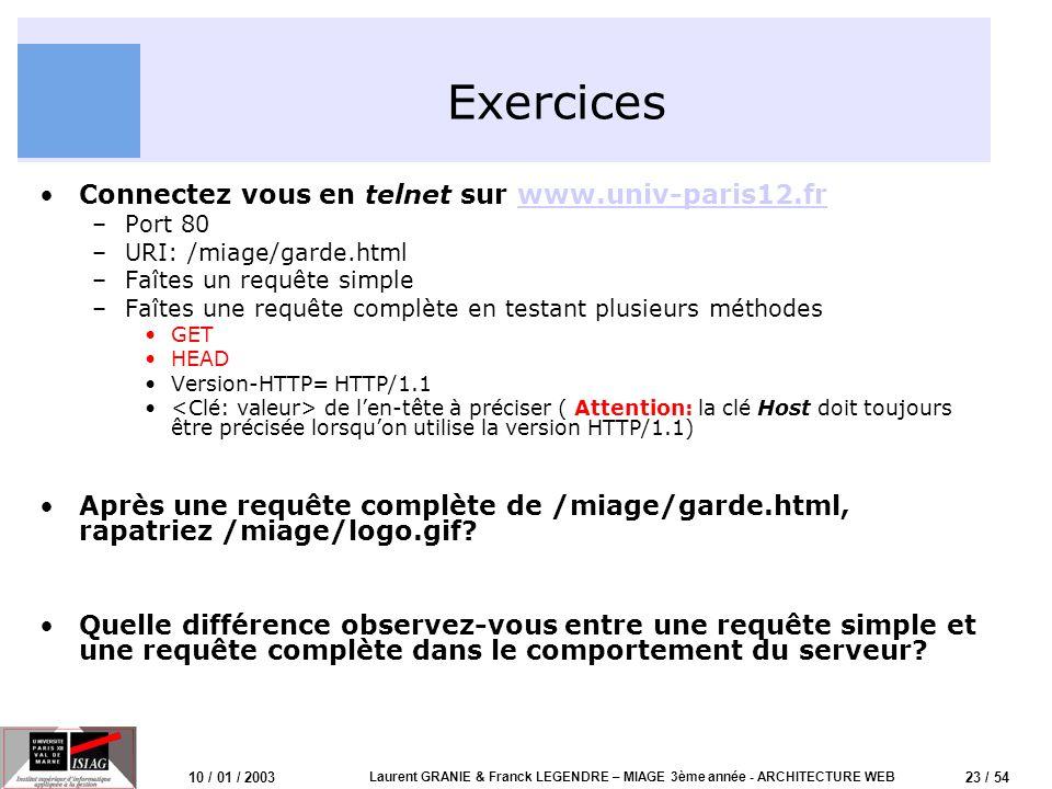 24 / 54 10 / 01 / 2003 Laurent GRANIE & Franck LEGENDRE – MIAGE 3ème année - ARCHITECTURE WEB Exercices (2) Daprès-vous quel impact à cette différence de comportement sur le trafic de lInternet.