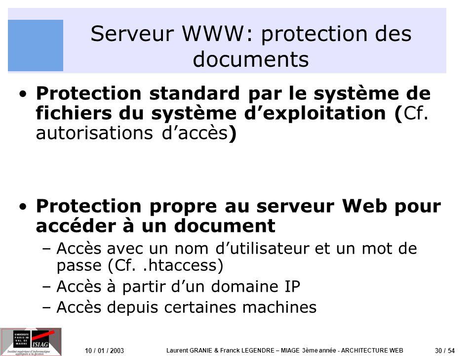 31 / 54 10 / 01 / 2003 Laurent GRANIE & Franck LEGENDRE – MIAGE 3ème année - ARCHITECTURE WEB Serveur Apache Apache est un serveur Web multi plateforme (Windows, Unix, …) Un démon httpd écoute en permanence sur le port 80 (port par défaut) et accepte les connexions Un fichier de configuration httpd.conf permet de configurer le serveur –Port TCP découte –Racine des documents web dans le système de fichier du serveur –Configuration de la sécurité –Configuration des logs de connexions et derreurs –….