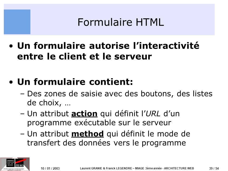 40 / 54 10 / 01 / 2003 Laurent GRANIE & Franck LEGENDRE – MIAGE 3ème année - ARCHITECTURE WEB Formulaire HTML: exemple (2) Formulaire avec deux champs et deux choix utilisant la méthode GET Utilisateur: Mdp: Retenir le mot de passe.