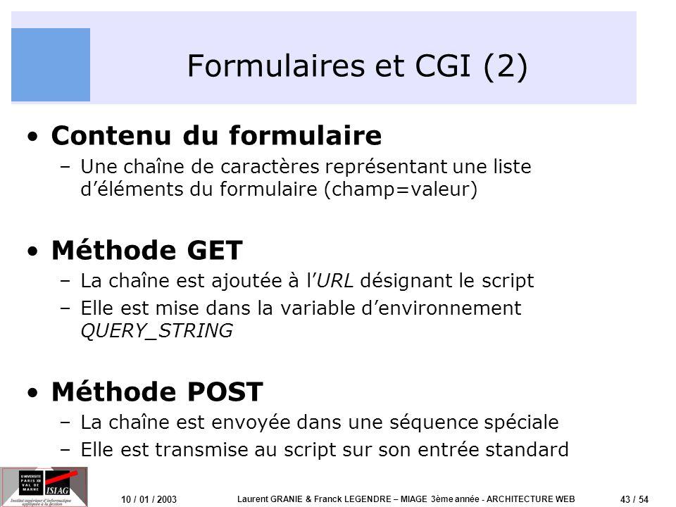 44 / 54 10 / 01 / 2003 Laurent GRANIE & Franck LEGENDRE – MIAGE 3ème année - ARCHITECTURE WEB Formulaires et CGI (3) Client WebServeur Web Script CGI 1- Requête 2- Envoi 3- Validation 4- Envoi vers CGI 5- Expédition sortie 6- Envoi sortie Chargement du formulaire Traitement des données Réception sortie (HTML) Complètement puis HTML/HTTPCGI