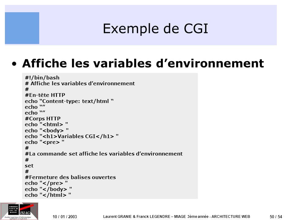 51 / 54 10 / 01 / 2003 Laurent GRANIE & Franck LEGENDRE – MIAGE 3ème année - ARCHITECTURE WEB Exercices Conception dune page HTML statique –Codez une page HTML simple et affichez là dans votre navigateur –Modifiez votre page et ajouter y un formulaire Connexion au serveur Apache –Utilisez telnet pour vous connecter au serveur Apache du TP –Consultez le fichier de configuration /etc/apache/httpd.conf Téléchargement de votre page dans le serveur Apache –Utilisez le protocole FTP pour télécharger votre page dans votre compte –Connectez-vous en telnet et créez dans votre compte un répertoire public_html, déplacez votre page dans ce répertoire (éventuellement modifier les droits daccès) –Testez laccessibilité de votre page à lURL: http:// /~gX/ où X correspond à votre numéro de groupe http:// /~gX/<ma_page.html