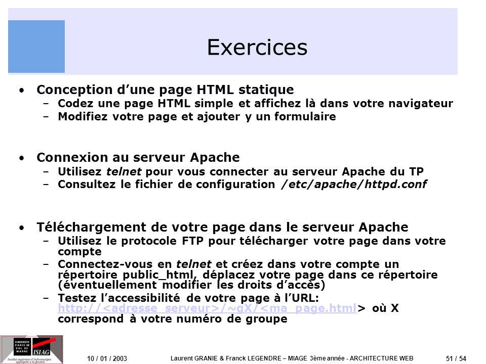 52 / 54 10 / 01 / 2003 Laurent GRANIE & Franck LEGENDRE – MIAGE 3ème année - ARCHITECTURE WEB Exercices (2) Conception dun CGI –Dans votre compte, créez le répertoire ~/public_html/cgi-bin –Ecrivez et téléchargez le CGI vu en cours par ftp –Modifiez les droits daccès au CGI (chmod 755) –Testez votre CGI à lURL http:// /~gX/cgi- bin/ http:// /~gX/cgi- bin/<moncgi.cgi –Utilisez un formulaire pour envoyer des paramètres au CGI.