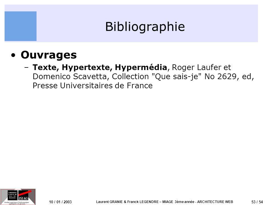 54 / 54 10 / 01 / 2003 Laurent GRANIE & Franck LEGENDRE – MIAGE 3ème année - ARCHITECTURE WEB Questions .