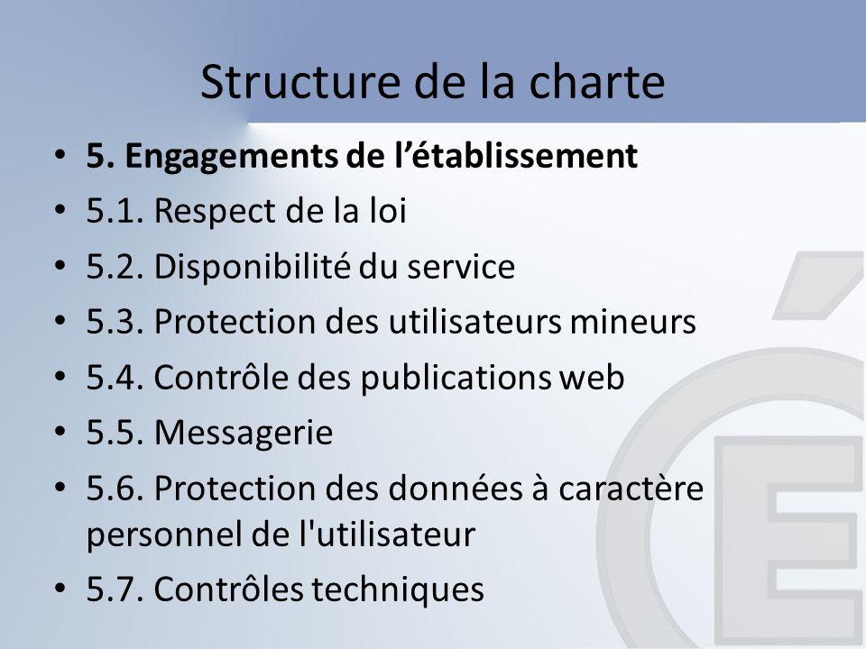 Structure de la charte 6.Engagements de l utilisateur 6.1.