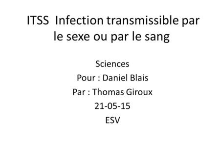ITSS Infection transmissible par le sexe ou par le sang