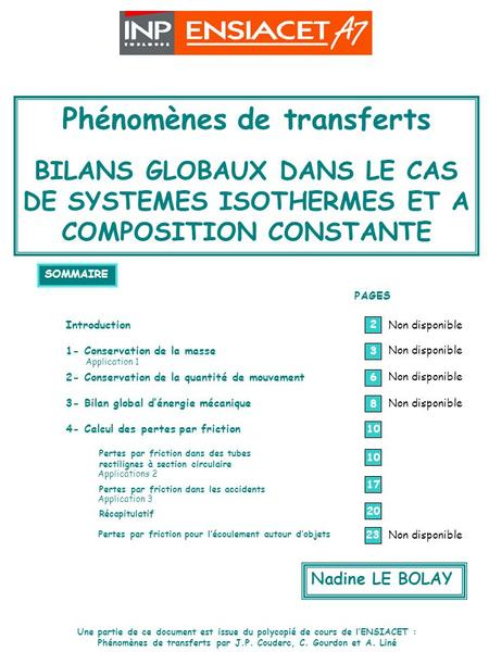 SYSTEMES ISOTHERMES ET A COMPOSITION CONSTANTE