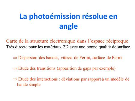 La photoémission résolue en angle