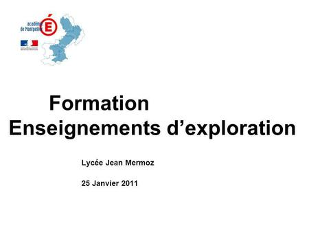 Formation Enseignements d'exploration
