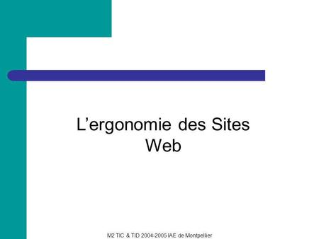 L'ergonomie des Sites Web