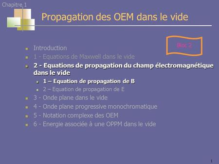 1 Introduction 1 - Equations de Maxwell dans le vide 2 - Equations de propagation du champ électromagnétique dans le vide 2 - Equations de propagation.