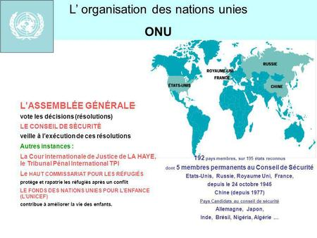 L' organisation des nations unies ONU