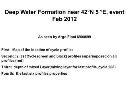 Deep Water Formation near 42°N 5 °E, event Feb 2012 As seen by Argo Float 6900699 First: Map of the location of cycle profiles Second: 2 last Cycle (green.