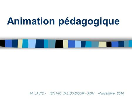 Animation pédagogique M. LAVIE - IEN VIC VAL DADOUR - ASH –Novembre 2010.