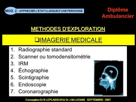 METHODES D'EXPLORATION