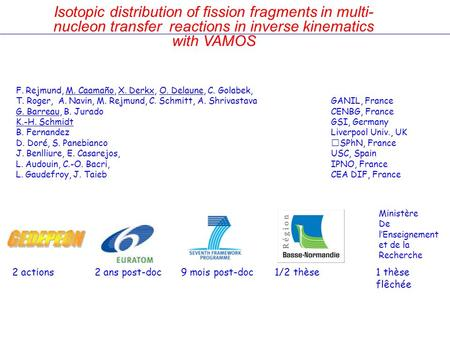 Isotopic distribution of fission fragments in multi- nucleon transfer reactions in inverse kinematics with VAMOS F. Rejmund, M. Caamaño, X. Derkx, O. Delaune,