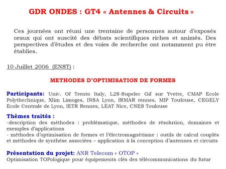 GDR ONDES : GT4 « Antennes & Circuits »