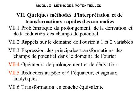 MODULE - METHODES POTENTIELLES