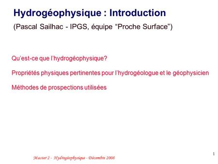 Hydrogéophysique : Introduction