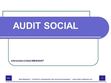 AUDIT SOCIAL Intervention d'Alain MEIGNANT