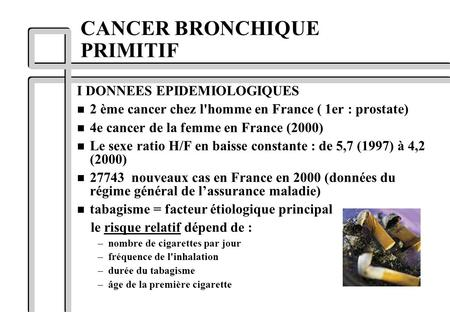 CANCER BRONCHIQUE PRIMITIF