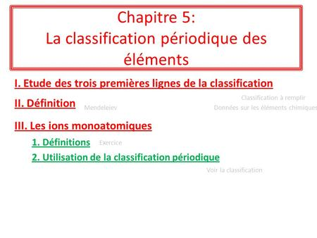 Chapitre 5: La classification périodique des éléments I. Etude des trois premières lignes de la classification II. Définition 1. Définitions Classification.