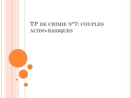 TP DE CHIMIE N °7: COUPLES ACIDO - BASIQUES. I. C OUPLES ACIDE / BASE NOMFormulepH de la solution Couple Acide/Base Demi-équation Ion oxonium Ion hydroxyde.