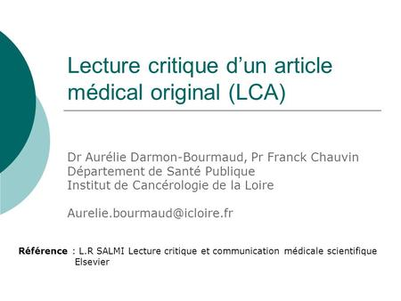 Lecture critique d'un article médical original (LCA)