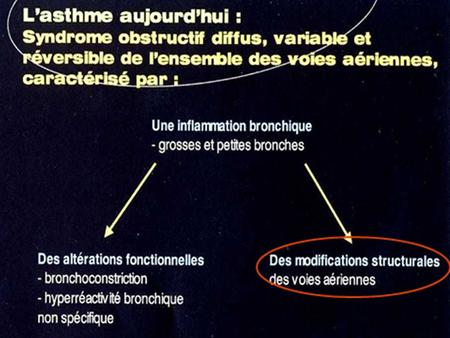 Linflammation bronchique = réponses à une agression = contact de substances diverses avec la muqueuse bronchique: allergènes, virus, irritants non spécifiques…